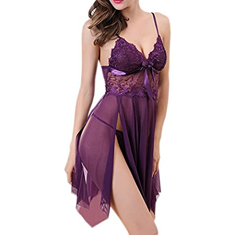 Uni-love Sexy Lace Babydoll Lingerie for Women Embroidered Strap Nightgown