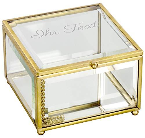 LAUBLUST Schmuckkästchen Personalisiert mit Individueller Wunsch-Gravur - ca. 11x11x7cm, Glas | Persönliches Geschenk