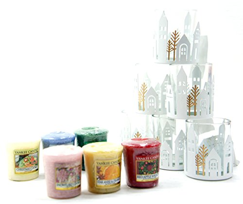 6 x ufficiale Yankee Candle Winter Village hotel feste in vetro e metallo portacandele + 6 assortiti Natale fragranza campionatori