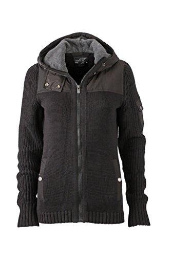 JAMES & NICHOLSON Veste a capuche en tricot , maille large noir/gris-foncé-mélange