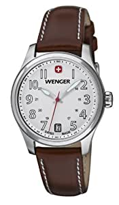Wenger Terragraph Women's Quartz Watch with White Dial Analogue Display and Brown Leather Strap 010521101
