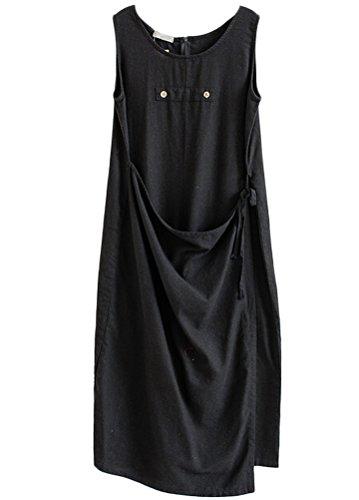 MatchLife Femme Sans Manche Robe Jumpsuit Pantalon Noir