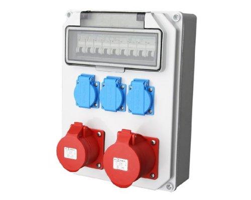 Wandverteiler CEE + 1x16A + 1x32A 3x230V Stromverteiler Baustromverteiler Feuchtraumverteiler Komplett AWVT5