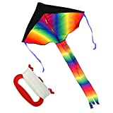 Huge Rainbow Kite/Zilong Colorful Childrens Kites /Kids Toy with 30M(98feet) Flying Line Easy Flyer For Outdoor Games Activities ,Summer Fun - ZILONG - amazon.co.uk