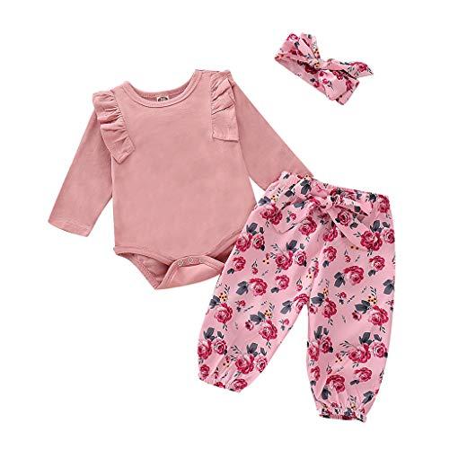 Zylione MäDchen Kleidung Set Kinder Baby LangäRmelige Einfarbige Kleidung + Blumendruck Hosen + Haarband Dreiteiligen Anzug(Rosa,80)