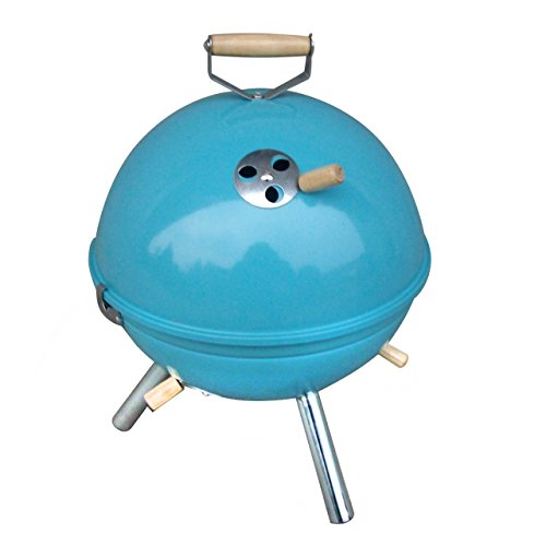 Jet-Line Mini Grill blau Kugelgrill BBQ Grill Holzkohlegrill Camping Garten Kohle