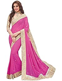Eshop Online Women'S Georgette Saree With Blouse Piece (Pink Patta 306_Pink)