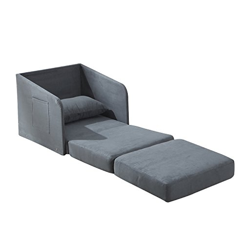 HOMCOM Single Sofa Bed Armchair Soft Floor Sleeper Lounger Futon Couch W/  Pillow And Pocket Grey