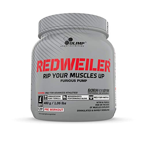 Olimp Redweiler | Pre Workout Booster | Muskelpumpe | L-Arginin | Beta-Alanin | Orange Geschmack | 480 g -