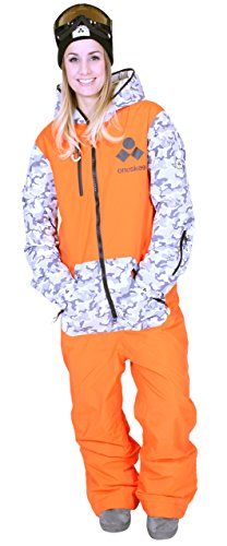 Oneskee Mark III Frauen Ski Einteiler Camouflage orange W3