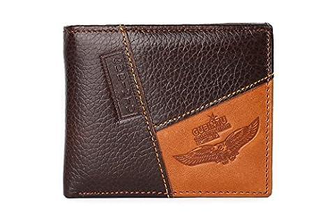 Wewod Mode PU Cuir Portefeuille pour Hommes Bi-Fold Nouvelle Porte Monnaie pour Carte D'identité Permis de Conduire Billet de Banque Classique Bourse Wallet - Marron (Marron-b)