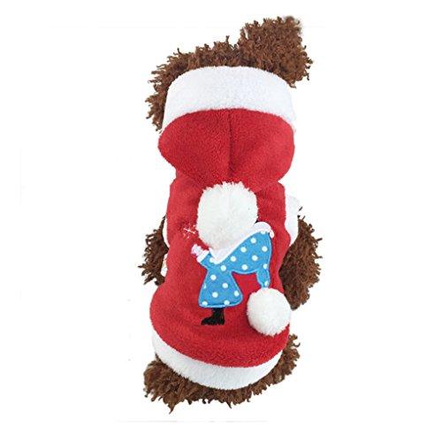 Unisex Samt Hundemantel Hund Weihnachtskleid Wintermantel Weihnachtsmannkostüm für kleinen Teddy Hund Katze im Herbst und Winter (Teenager Katze Kostüme)