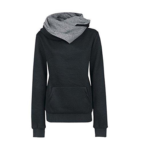 VECDY Damen Pullover,Räumungsverkauf- Herbst Frauen Langarm Hoodie Sweatshirt Pullover mit Kapuze Baumwollmantel Pullover Lässige hohe Kragen warmen Pullover Hoodie(schwarz,40)