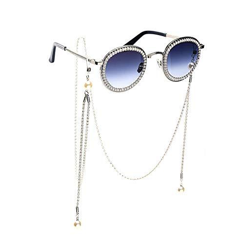 Sonnenbrille,Klassische Mode Runde Perle Mit Kette Sonnenbrille Stern Mit Den Gleichen Absatz Metallrahmen Silber Uv-Schutz Sonnenbrille