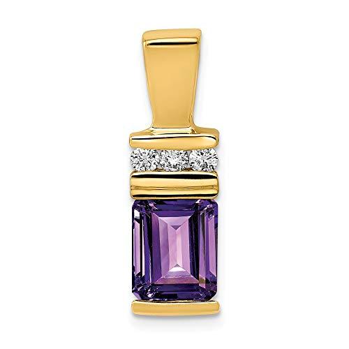 14k 8x6mm corte esmeralda amatista un tobogán de diamante
