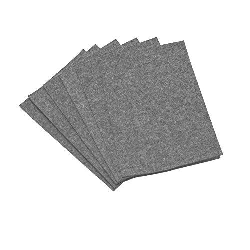 Filz Platzset 6 Stück Tischmatte eckige Ecken 5mm dick Grau