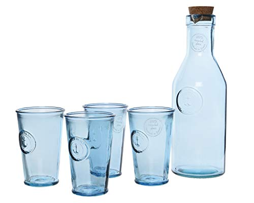 Kitchen Goods & More 4er Gläserset Trinkglas Karaffe Recycling Glas blau Anker Garten Geschenkkarton Anker-gläser