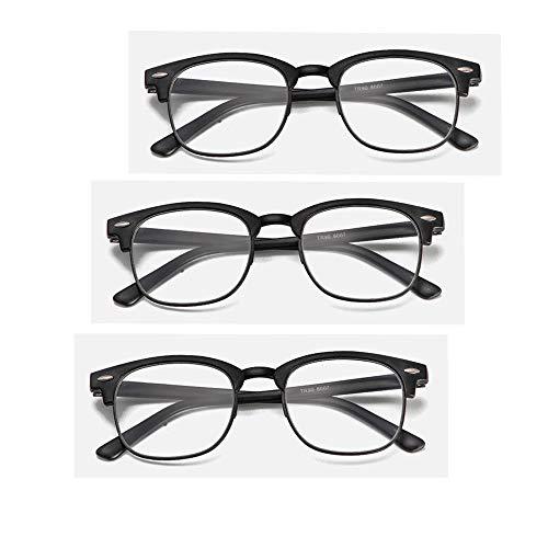 Klassische Lesebrille Leichte Leser Wert 3 Pack Frühling-Scharniere Computer Lesebrille Runde Rahmen Brillen Komfort Mode Anti-Glare Reader Für Männer Frauen,1.5