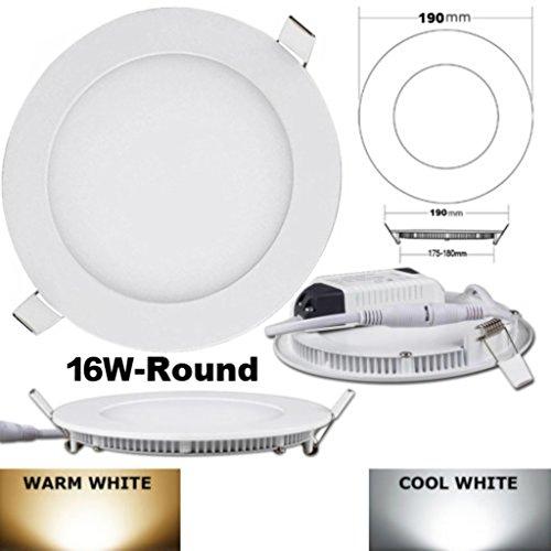 16 Watt Einbauleuchten (ALBRIGHT Ultraslim LED Panel Einbauleuchte, mit Treiber/Trafo, rund, 16 W, Warmweiss)