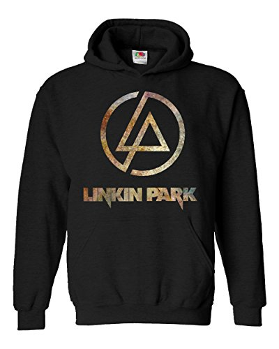 "Felpa Unisex ""Linkin Park"" - Rust Texture - Felpa con cappuccio rock band LaMAGLIERIA, M, Nero"