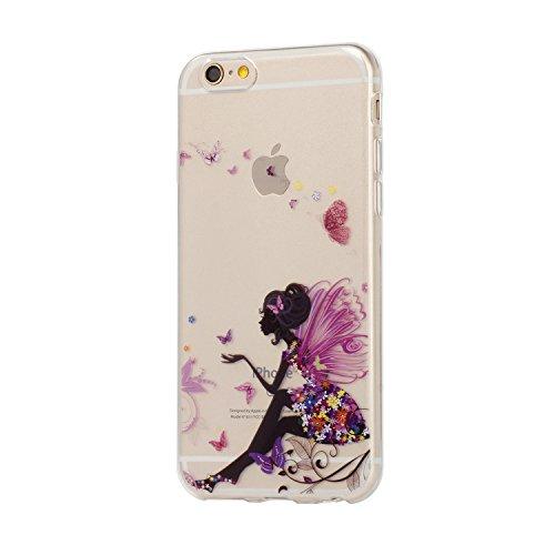 Für iPhone 6 6S Hülle Fall , IJIA Blume Mädchen Flügel Schmetterling Weich TPU Case Durchsichtig Schutzhülle Silikon Crystal Transparent Cover Hülle für Apple iPhone 6 6S 4.7