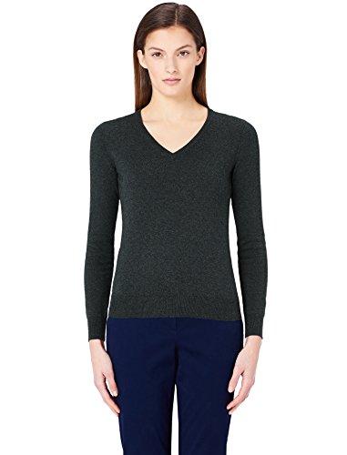MERAKI Jersey de Algodón Mujer Cuello Pico, Gris (Charcoal), 36 (Talla del Fabricante: X-Small)