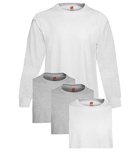 Hanes Mens Tagless ComfortSoft Long-Sleeve T-Shirt 2 White / 2 Light Steel