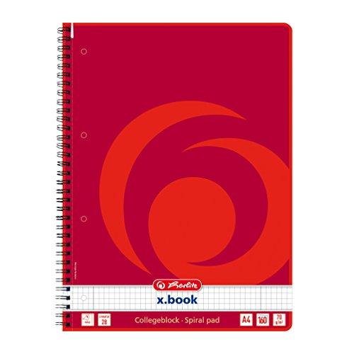 Herlitz 11163946 Spiralblock A4, Lineatur 28 (kariert mit 2 Rändern), 160 Blatt, 3er-Pack