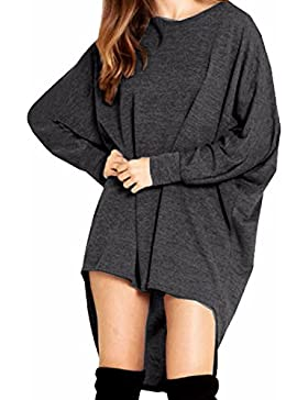 ZANZEA Mujer Suéter Jersey Blusa Camiseta Asimétrica Mangas Largas Casual Elegante Oficina Algodón