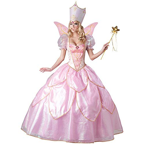 POIUYT Halloween Cosplay Prinzessin Kleider Fairy Tale Flower Fairy Game Kostümfest Cosplay Party Body SuitPolyester Rock,Pink-M