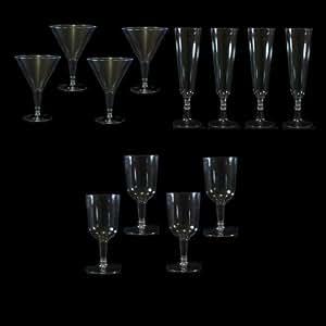 Party Lot de 30 Verres assortis-Flûte à Champagne-Bordeaux-Verre à Martini jetables en plastique