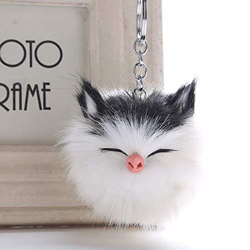 Seraphis Lindo gato durmiendo Pom Pom gris bolso monedero encanto bola de piel colgante coche llavero