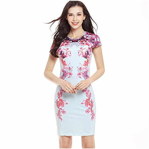 Max Explorer the Sexy Slim Printed Skirt 739 Short Sleeve Tight Belt Hip Pencil Skirt the New Product 2017 (X-Large 42)