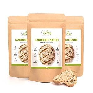SlimBack - LOWER CARB LANDBROT Natur - 3er Pack - Brot Backmischung ohne...