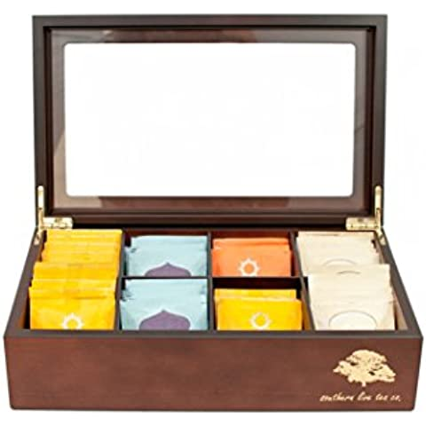 Southern Live Tea Company Deluxe 8 Compartment Wooden Tea Box Chest (Mahogany) by Southern Live Tea Co.