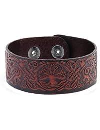 Skyrim Punk Handmade Vintage Brown Tree of Life Wide Cuff Wristband Retro Male Viking Jewelry