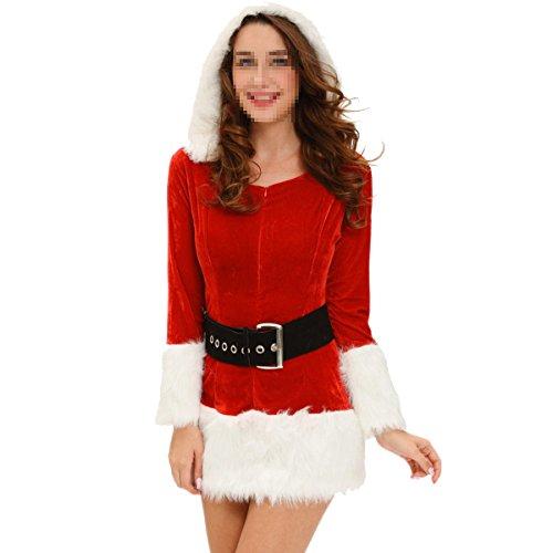SHRJJ 2017 Neu Erwachsene Weiblich Weihnachten Auswahl Santa Claus Kostüm Rot Weiß Plüsch Weihnachten Xmas Kleid Bühnenanzug Gürtel Anzug Cosplay Kostüm,White-OneSize
