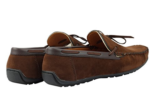 Herren Schwarz Braun Marineblau Blau Faux Wildleder Leder Smart Casual Mod Mokassin Slip auf Schuhe D Brown