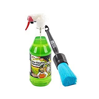 Tuga Alu-Teufel-Spezial - Felgenreiniger, 1L + ValetPro Chemical Resistant Brush (Plastic Handle) - Felgenpinsel, SET