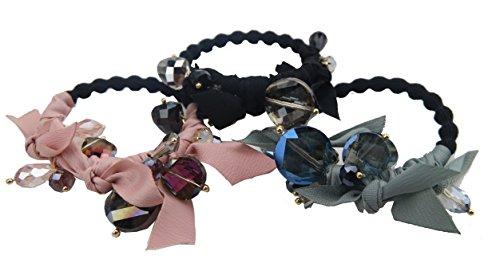 Ysting 3Pcs Art- und Weiseelastischer KristallHirtie Pferdeschwanz-Halter-Stirnband-Schmucksache-Zusätze für Frauen-Mädchen-Haar-Band (Seite Pony Mit Pferdeschwanz)