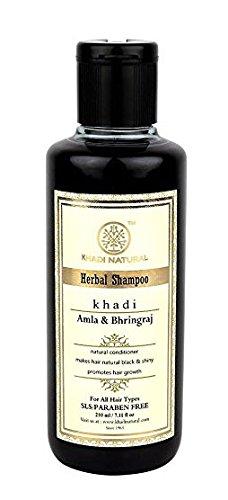 KHADI - Natürliche pflanzliche ayurvedische Amla Und Bhringraj Haarreinigungsmittel und Shampoo für alle Haartypen SLS und Paraben Free (210 ml) -