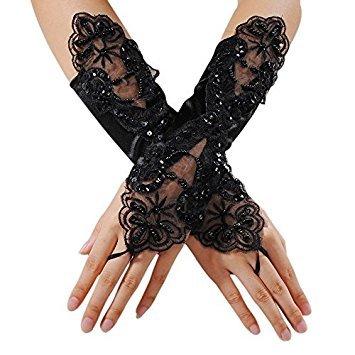 Vi.yo, guanti da donna in pizzo, lunghi, senza dita, ricamati, adatti per la sposa nei matrimoni, per la sera, feste formali, il teatro, feste a tema black