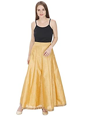 DAMEN MODE Women Gold Silk Solid Skirt with Border Free Size