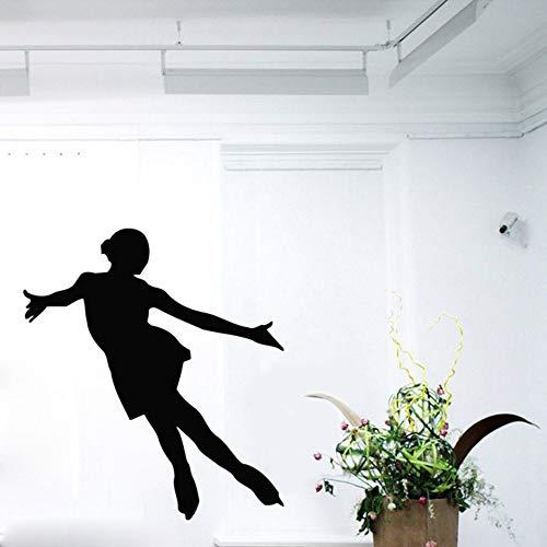 mzdzhp Wandaufkleber Eisläufer Wandtattoos Mädchen Eiskunstläufer Aufkleber Eislaufen Sport Gym Interior Design Home Vinyl Wandaufkleber Für Kinderzimmer 64X56 cm