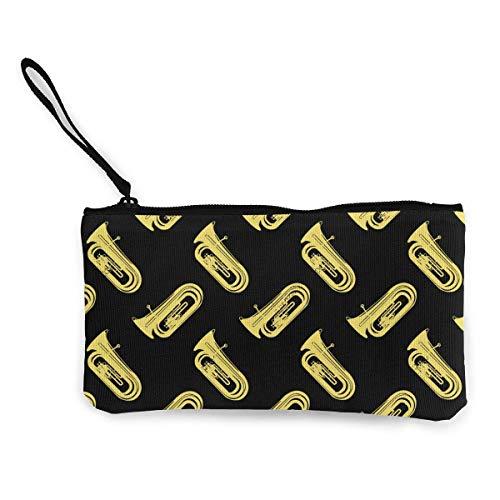 gthtyju Gold Tuba Isolated Women Mini Canvas Coin Purse Cute Cosmetic Bag