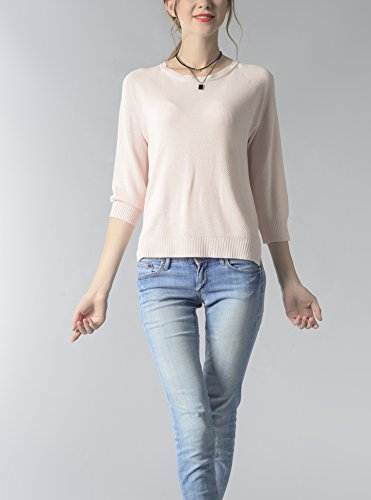 Femme Pull Court Col Rond Tricoté Top Casual Tricot Manches 3/4 Chiffon Mode Uni Monissy Rose