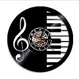 ganjue 1Piece Pianoforte Tastiera Vinyl Lp Record Orologio da Parete Music Room Decor Retro Orologio da Parete Appeso al Muro Movimento Silenzioso al Quarzo-No LED