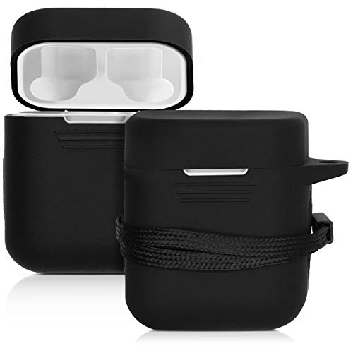 kwmobile Custodia per auricolari Xiaomi AirDots Pro - Protezione resistente porta AirDots Pro in silicone TPU con cordino apertura ricarica nero