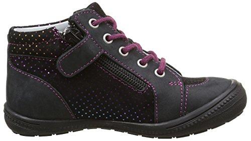 GBB Nora, Chaussures Lacées Fille Noir (11 Vte Noir/Fuchsia Dpf/2822)