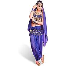 CoastaCloud Danza danza del vientre de gasa de vestuario Top Troueres Hip Bufanda Wrap cinturón Velo bufanda velo de la cara pulsera brazalete collar 7 pedazos fijados Azul Real